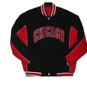 Black Chicago Bulls Polyester Jeff Hamilton Jacket