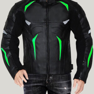 Black Green Monster Energy Motorcycle Leather Jacket
