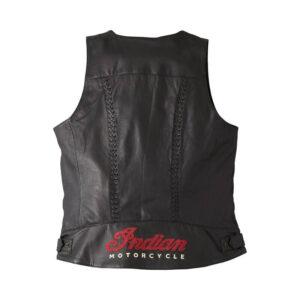 Black Indian Motorcycle Leather Vest