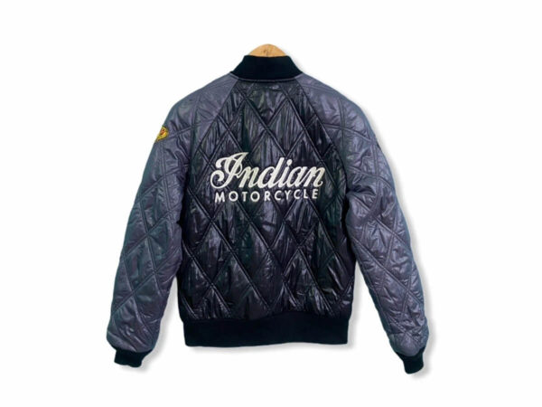 Black Indian Motorcycle Quilted Leather Jacket