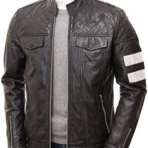 Black Leather Cafe Racer Jacket