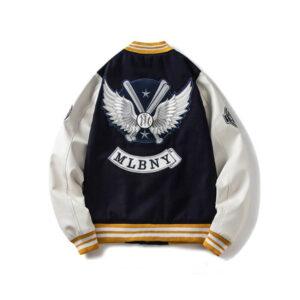 Black MLBNY Baseball Bomber Varsity Jacket