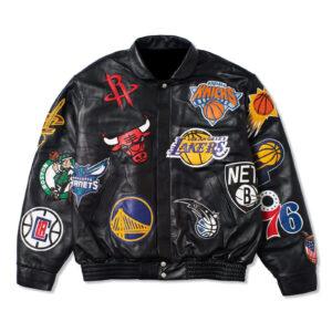 Black NBA Teams Collage Jeff Hamilton Leather Jacket