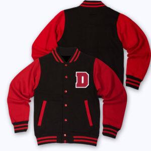 Black Red D Letterman Baseball Varsity Jacket