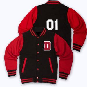 Black Red D Letterman Varsity Jacket