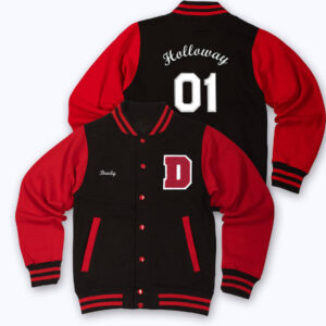 Black Red Holloway 01 Letterman Varsity Jacket