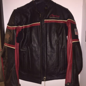 Black Red Indian Motorcycle Racing Leather Jacket