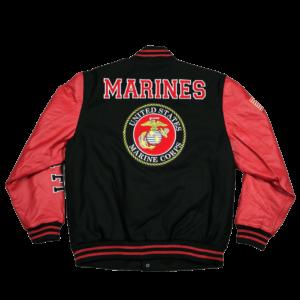 Black Red Marines Varsity Jacket With USMC Logo