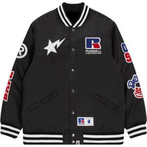 Black Russel Bape Baseball Varsity Jacket