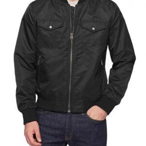 Black Trucker Style Bomber Jacket
