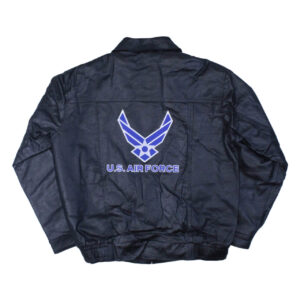 Black US Air Force Leather Bomber Jacket