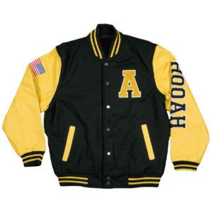 Black US Army Hooah With Army Star Logo Varsity Jacket