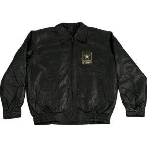 Black US Army Leather Jacket With Army Star Logo