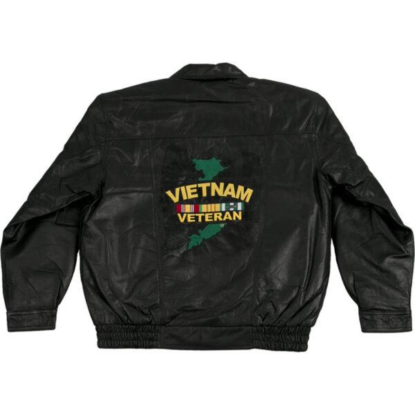 Black Vietnam Veteran Leather Bomber Jacket