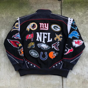 Black Vintage NFL Football Every Team Jacket