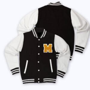 Black White Brody M Letterman Baseball Varsity Jacket