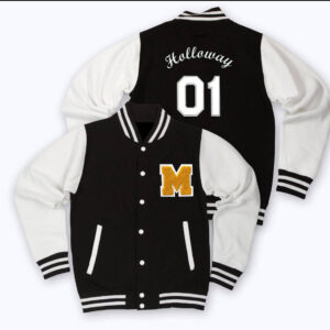 Black White Gold M Letterman Baseball Varsity Jacket