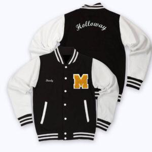 Black White Holloway Letterman Baseball Varsity Jacket