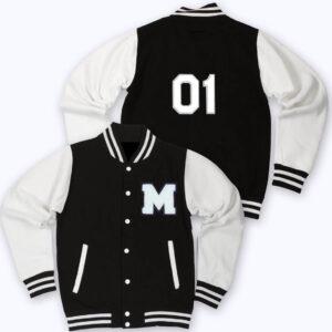 Black White M Letterman Varsity Jacket