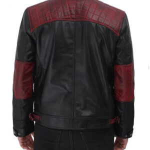Black and Maroon Cafe Racer Leather Jacket