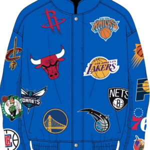 Blue NBA Teams Collage Jeff Hamilton Leather Jacket