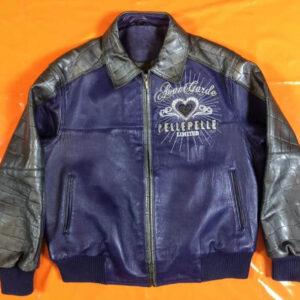 Blue Pelle Pelle Bomber Leather Jacket