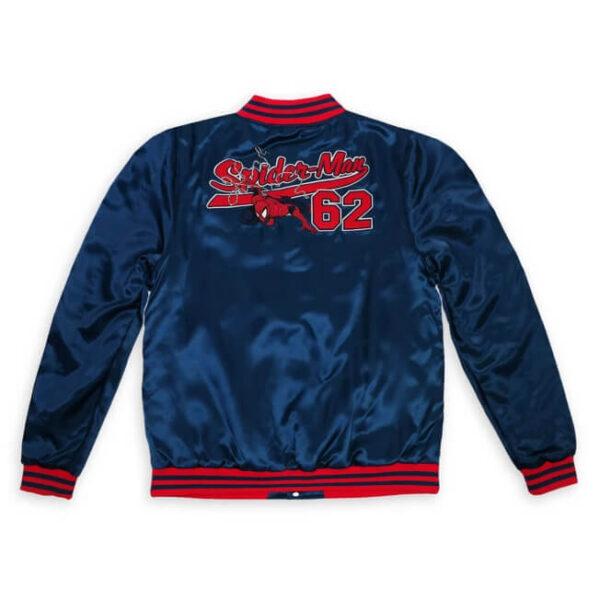 Blue Red Spider Man Satin Jacket