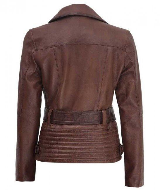 Brown Belted Asymmetrical Biker Jacket