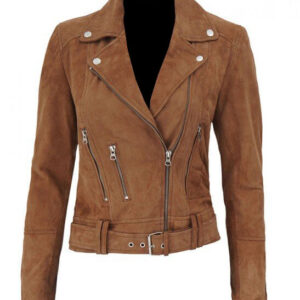 Brown Melanie Suede Leather Biker Jacket