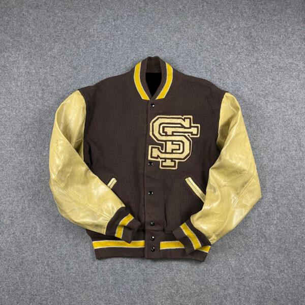 Brown Vintage Letterman Varsity Jacket