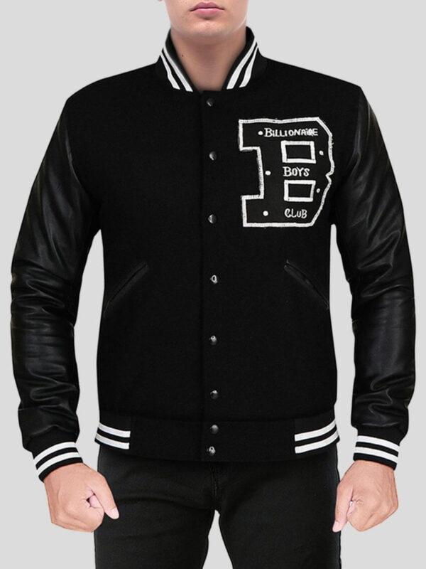 Captivating Deep Black Varsity Jacket