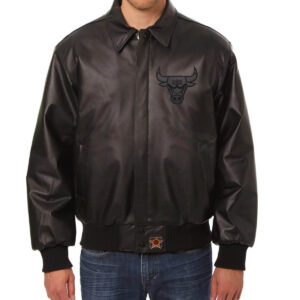 Chicago Bulls Black Leather Jacket
