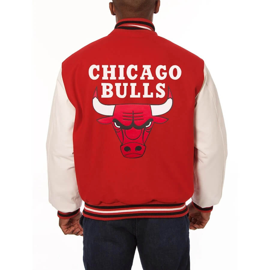 Chicago Bulls Two Tone Wool and Leather Jacket