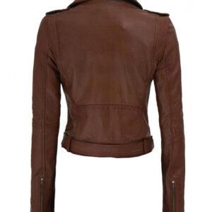 Dark Brown Nellie Leather Biker Jacket