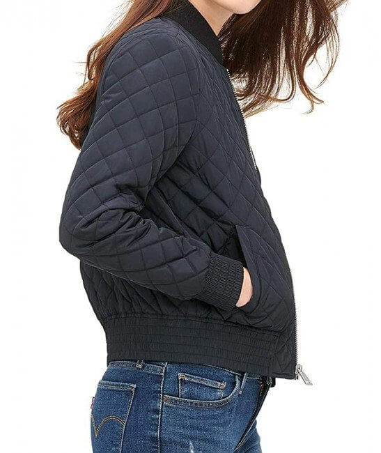 Diamond Quilted Blue Bomber Jacket