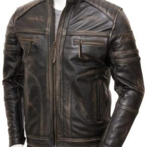 Distressed Brown Vintage Leather Cafe Racer Jacket
