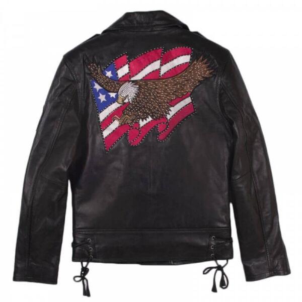 Eagle USA Flag American Leather Biker Jacket