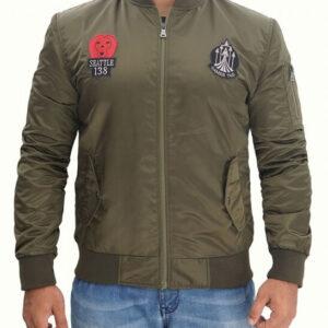 Green Koby Bomber Satin Jacket