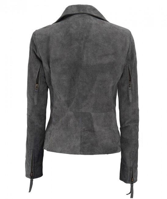 Grey Asymmetrical Cathy Suede Leather Biker Jacket