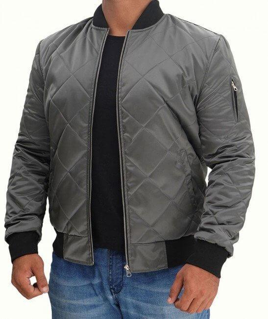 Grey Bomber Satin Jacket
