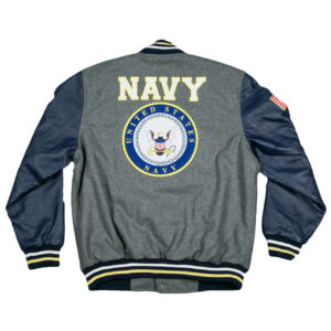 Grey Navy Varsity Global Force Jacket