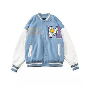 Light Blue Letterman Baseball Varsity Jacket