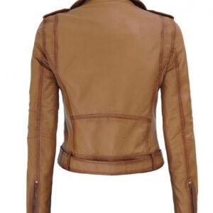 Light Brown Nellie Leather Biker Jacket