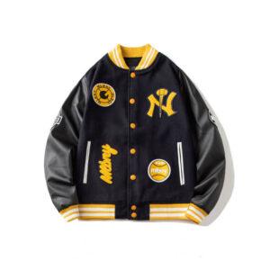 MLBNY Black Baseball Bomber Varsity Jacket