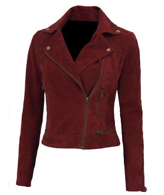 Maroon Asymmetrical Tonya Suede Leather Biker Jacket
