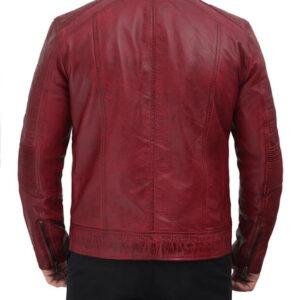 Maroon Cafe Racer Leather Jacket