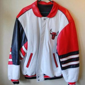 Michael Jordan Chicago Bulls Red White Leather Jacket