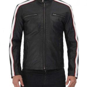 Mueller Black And White Stripe Leather Cafe Racer Jacket