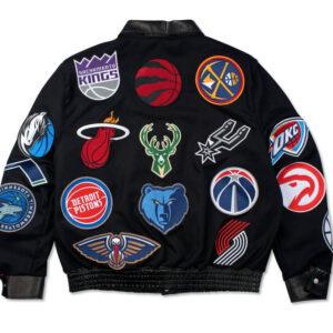 NBA Teams Collage Jeff Hamilton Wool Leather Jacket