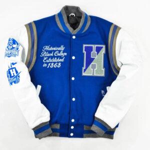 Navy Blue Hampton University Varsity Jacket